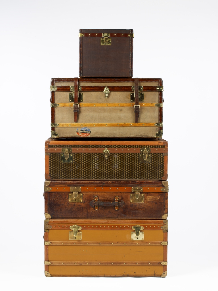 vintage luggage stacked up