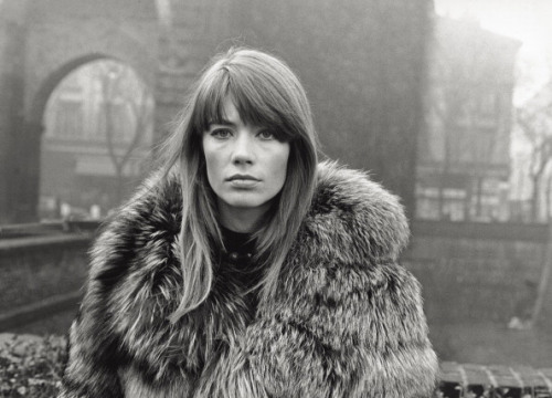 Francoise Hardy with a fur coat