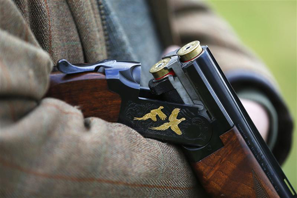 A shotgun with pheasants engraved on it is seen during a pheasant hunt in Lewknor, southern England