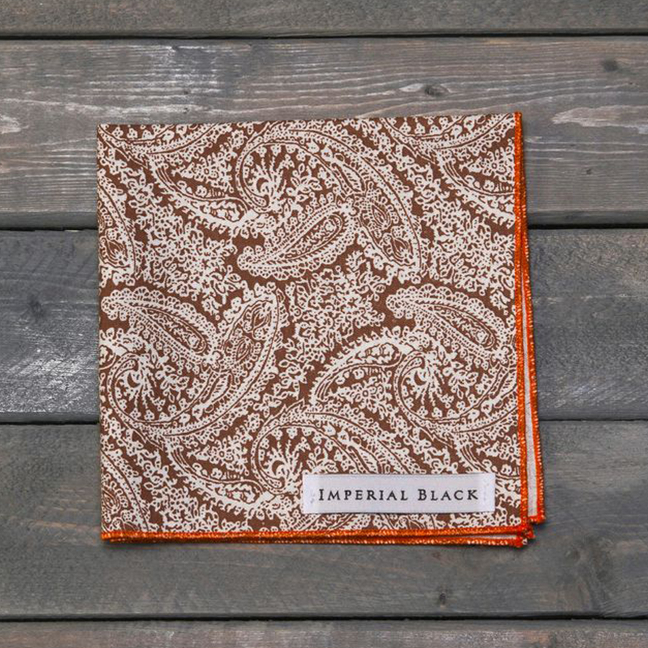 paisley pocket square in brown and orange