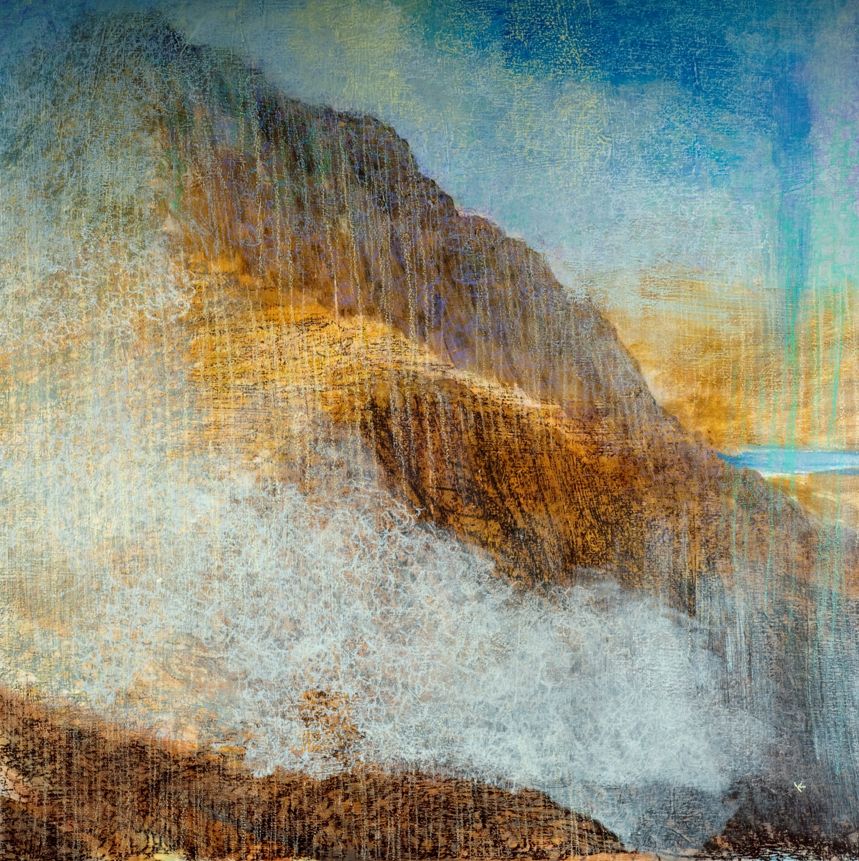 Keith Salmon 'Breaking mists the Pap of Glen Coe' Acrylic & Pastel 2011 80 x 80 cm