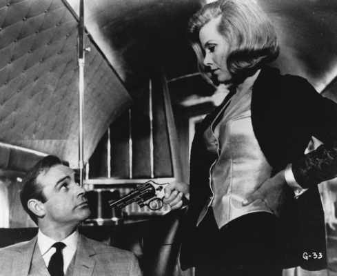 Honor Blackman and Sean Connery in James Bond film Goldfinger (1964)